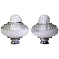 Pair of Nason for Mazzega Murano Clear, White Midcentury Space Age Lamps, 1960s