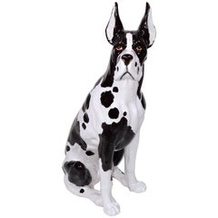 Italian Ceramic Lifesize Great Dane Sculpture