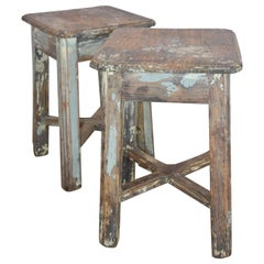 Primitive French, circa 1900 Milking Stools or Table with Blue and White Paint