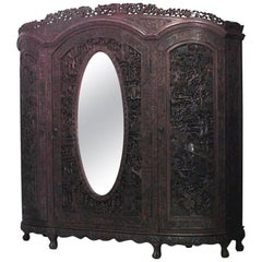 Asian Chinese Style Carved Teakwood Armoire Cabinet