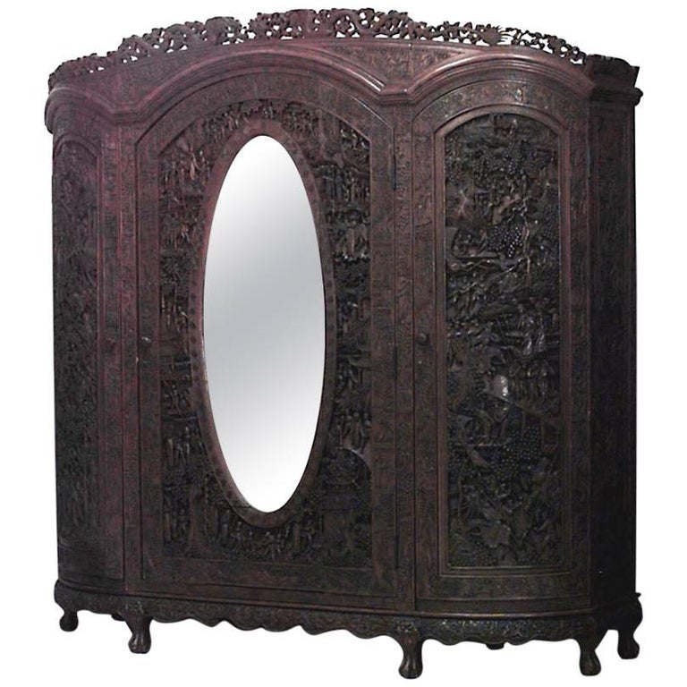 Asian Chinese Style Carved Teakwood Armoire Cabinet For