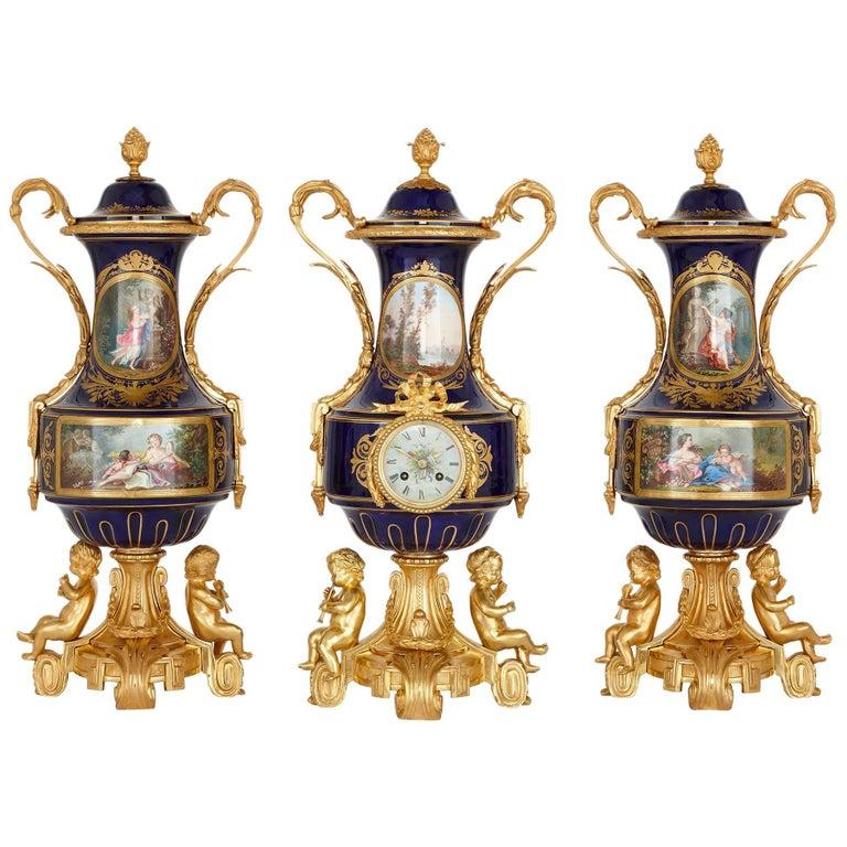 Antique Rococo Style Porcelain and Gilt Bronze Clock Garniture