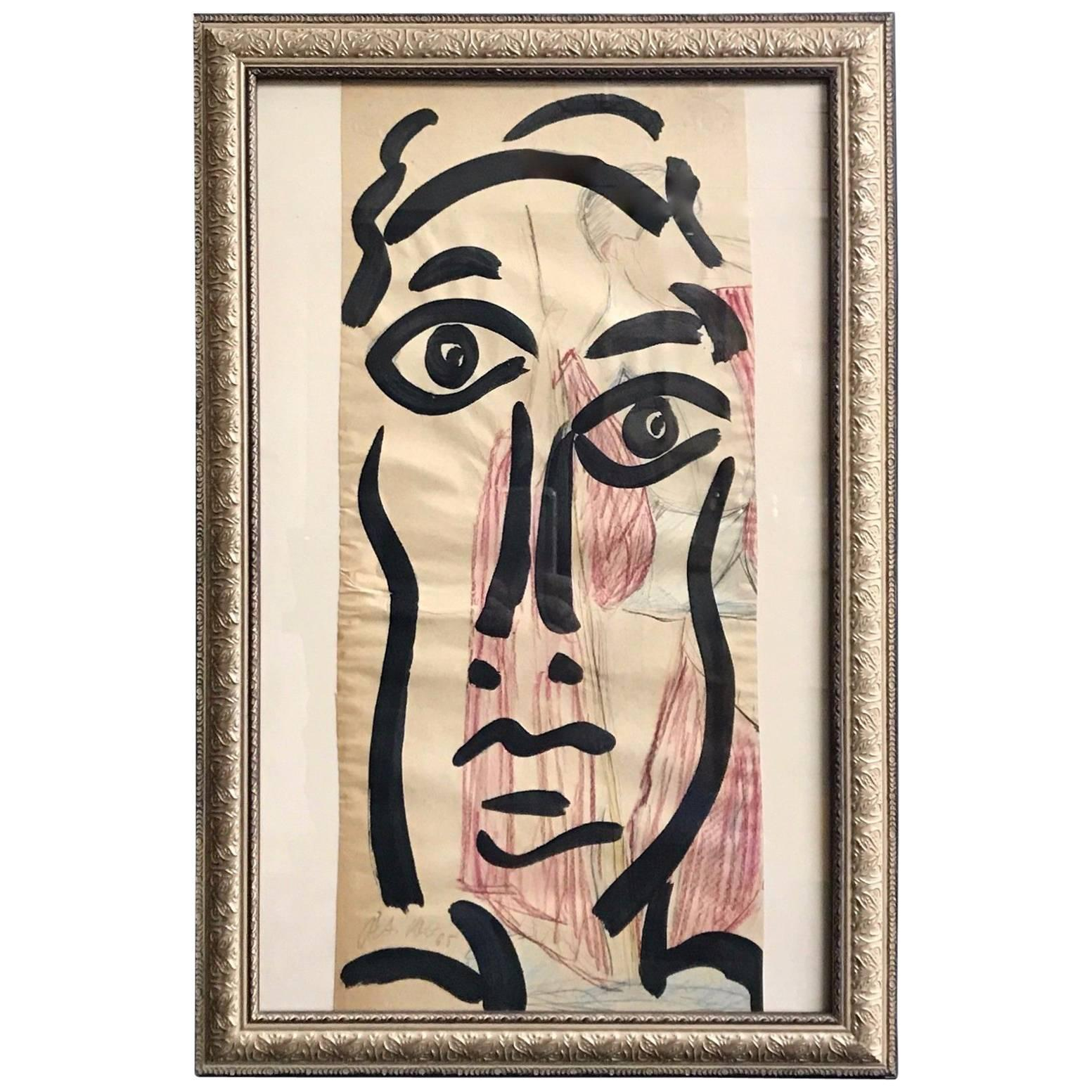 Peter Keil Mid-Century Modern Abstract Face Painting