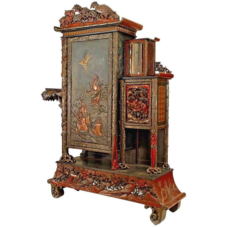 Asian Chinese Style 19th Century Carved Armoire Cabinet For