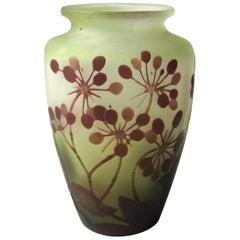 Art Nouveau Emile Galle Cameo Vase with D'Ombelles