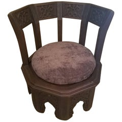 Low Moroccan Cedar Wooden Chair, Round