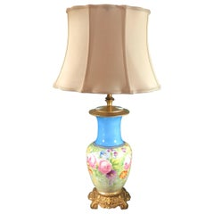 French Hand-Painted Porcelain Lamp