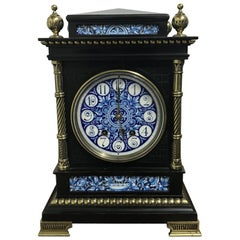 Lewis. F. Day, Attributed an Aesthetic Movement Ebonized and Enamel Mantle Clock