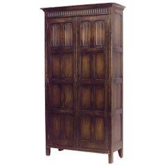 English Renaissance Style '19th Century' Stained Oak Two-Door Armoire Cabinet