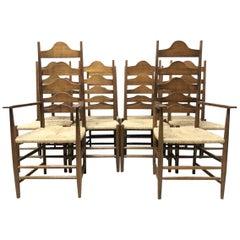 Ernest Gimson, Ten Arts & Crafts Cotswold School Oak Ladder Back Dining Chairs