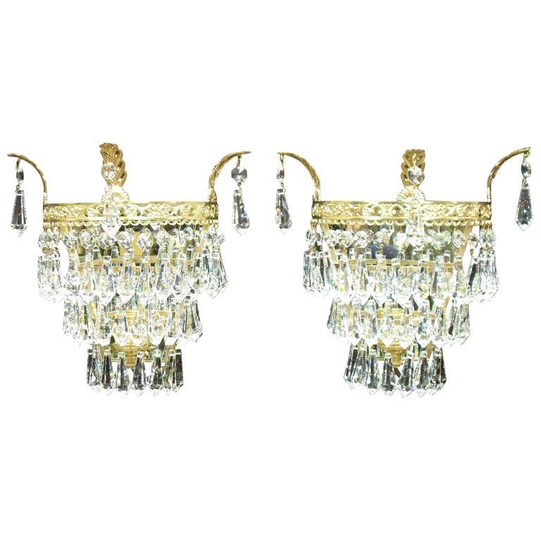 Pair of Italian Art Deco Cut Crystal Glass Wall Lights