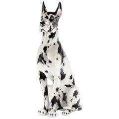 Danish Dog Sculpture in Hand-Painted Ceramic