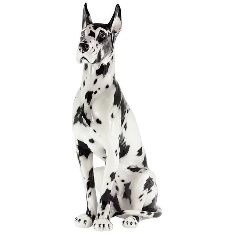 Danish Dog Sculpture in Hand-Painted Ceramic For Sale