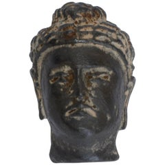 Early 20th Century Small Hand-Carved Stone Buddha Head