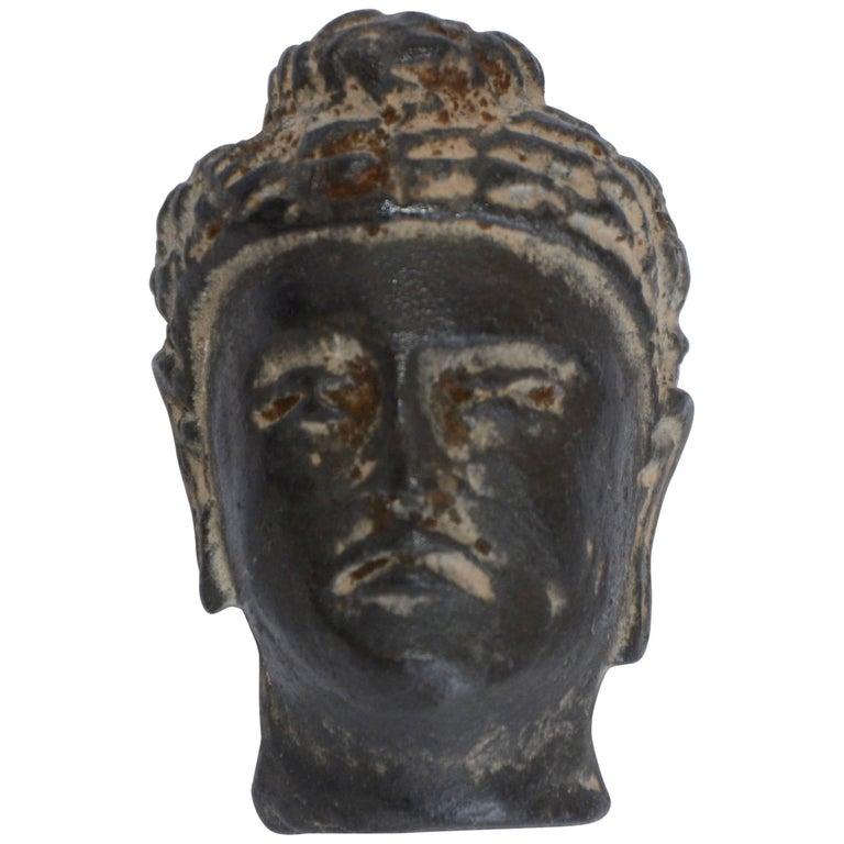 Early 20th Century Small Hand-Carved Stone Buddha Head For Sale