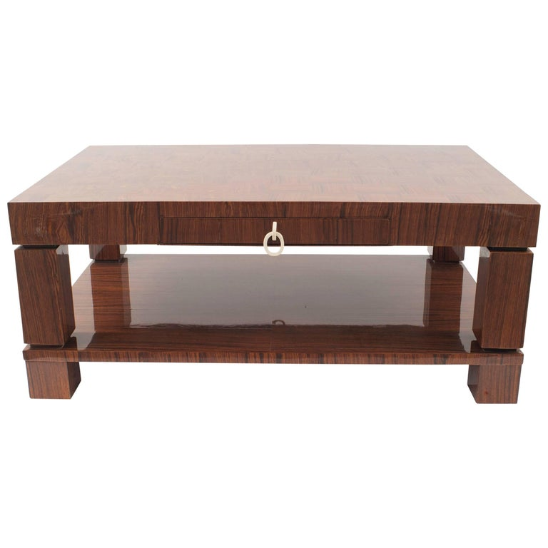 French Midcentury 1950s Rectangular Rosewood Coffee Table