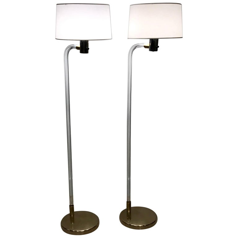 Pair of Peter Hamburger for Knoll Lucite and Brass Floor Lamps, 1970s
