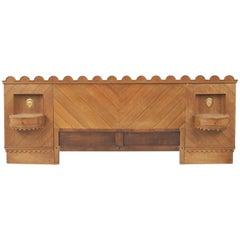 French Midcentury '1940s' Oak Headboard