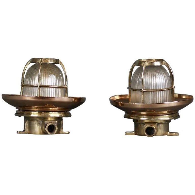 Pair of Copper Ship Ceiling Lights