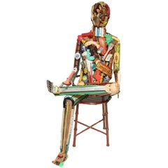 Leo Sewell Seated Figural Assemblage Sculpture