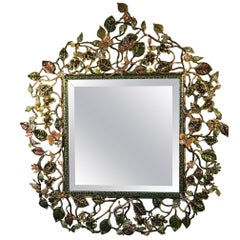 Jay Strongwater Mirror with Jeweled Bronze Foliage Frame