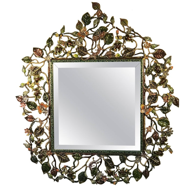 Jay Strongwater Mirror with Jeweled Bronze Foliage Frame For Sale at ...
