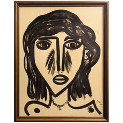 Peter Keil Mid-Century Modern 'Abstract Face' Oil on Canvas Painting