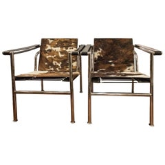 Le Corbusier Style 'Lc-1' Chair with Cowhide Upholstery