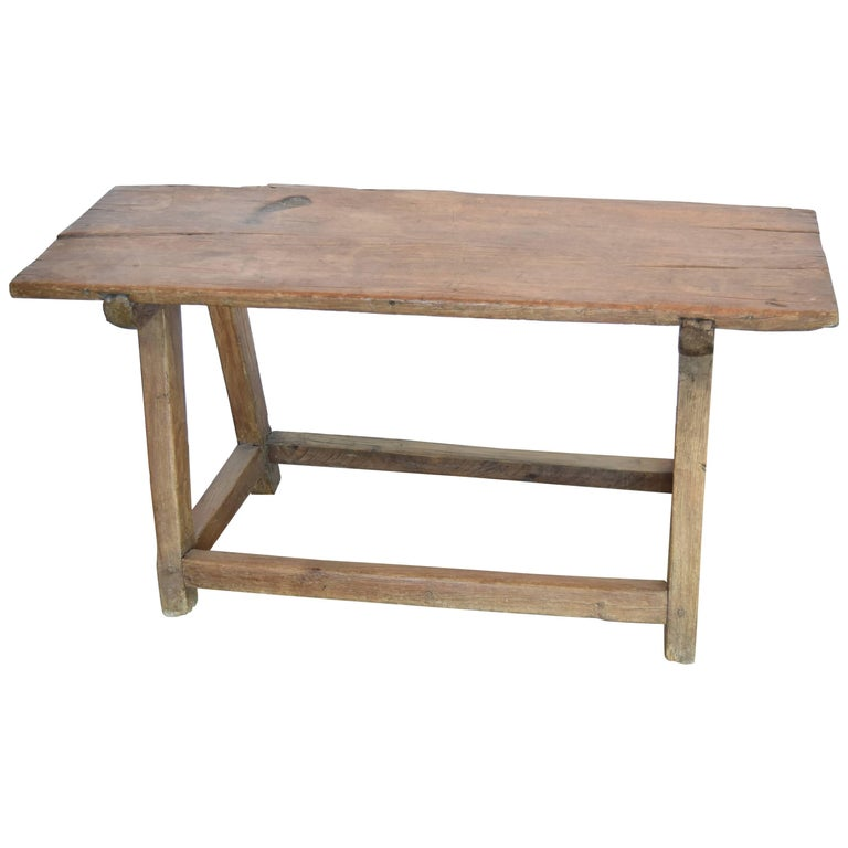 19th Century Spanish Primitive Chestnut Table/Bench Pegged and Tongue and Groove
