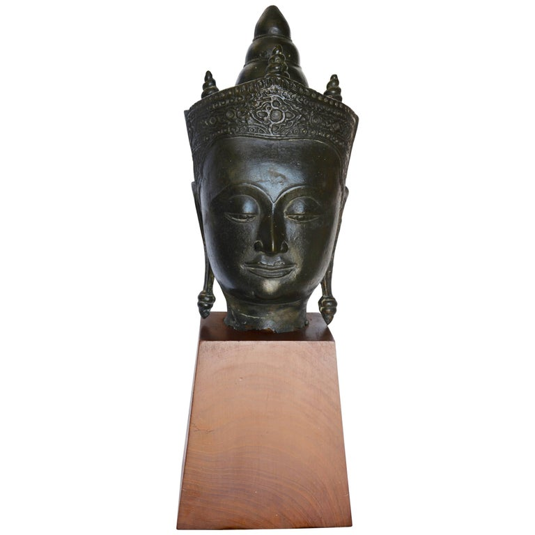 Late 18th Century Cast Bronze Bust of Buddha on Wooden Base