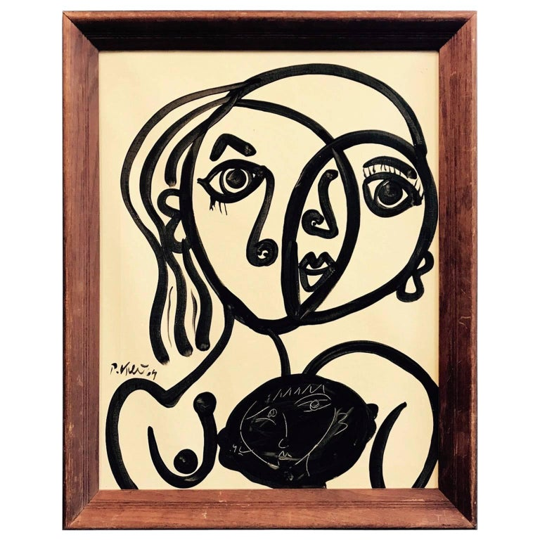 Peter Keil 'Abstract Face' Framed Abstract Portrait Oil Painting