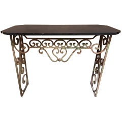 French Wrought Iron Console with a Black Marble Top, Early 20th Century