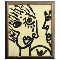 Peter Keil Mid-Century Modern 'Abstract Face' Framed Portrait Oil Painting