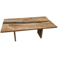 Live Edge Slab Dining Table with River Rocks and Glass