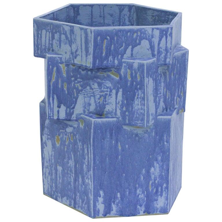 Extra Large Contemporary Ceramic Matte Blue Hexagon Planter For Sale