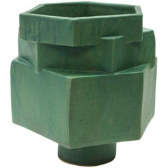 Large Contemporary Ceramic Green Hexagon Planter