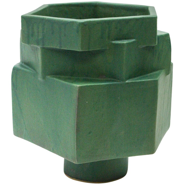 Large Contemporary Ceramic Green Hexagon Planter For Sale