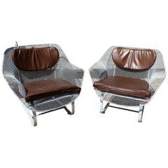 Mid-Century Modern Woodard Sculptura Pair of Rare Patio Rocking Chairs