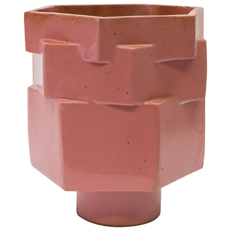 Large Contemporary Ceramic Pink Hexagon Planter For Sale
