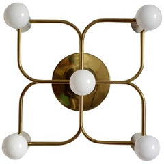 Sculptural Ceiling or Wall Light Flush Mount Chandelier by Leola, 1960s