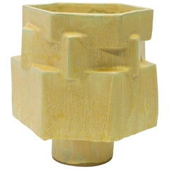Large Contemporary Ceramic Yellow Hexagon Planter