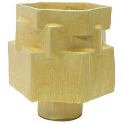 Large Contemporary Ceramic Yellow Hexagon Planter