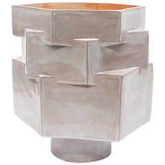 Large Contemporary Glazed Terracotta Ceramic Hexagon Planter