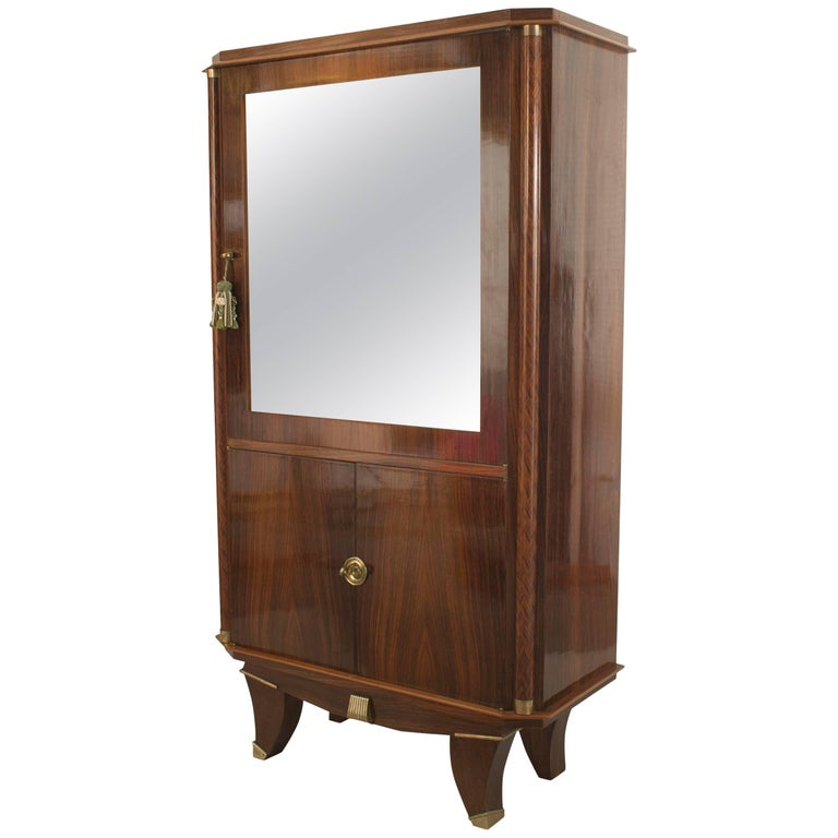 French Art Deco Palisander Wood Display Vitrine Cabinet