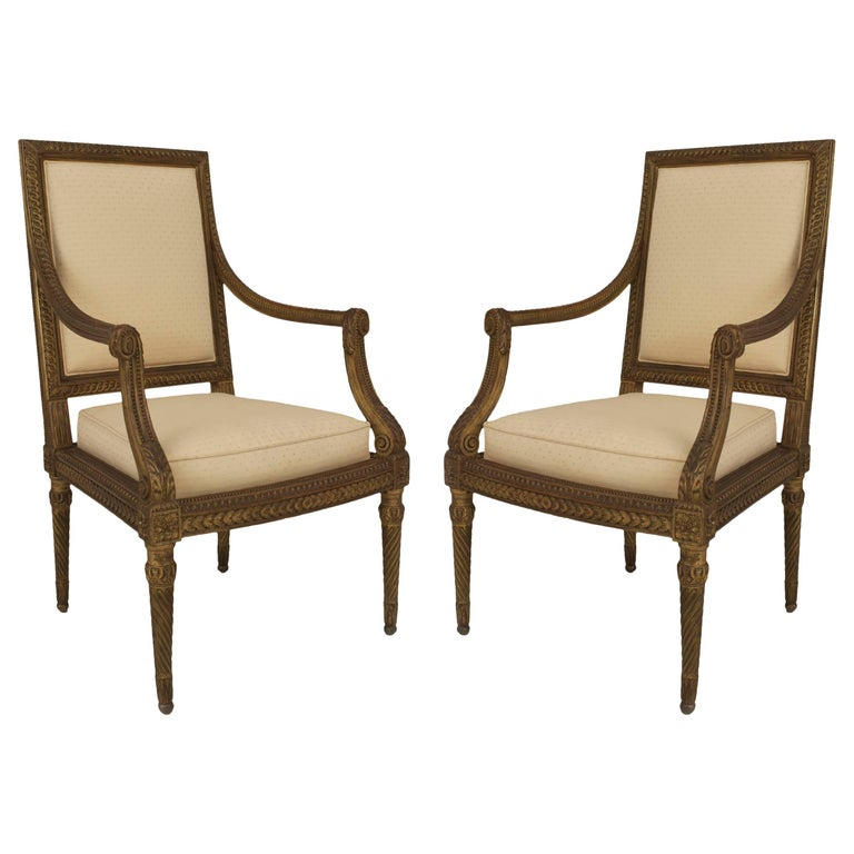 Pair of French Louis XVI Style '19th Century' Gilt Open Armchairs
