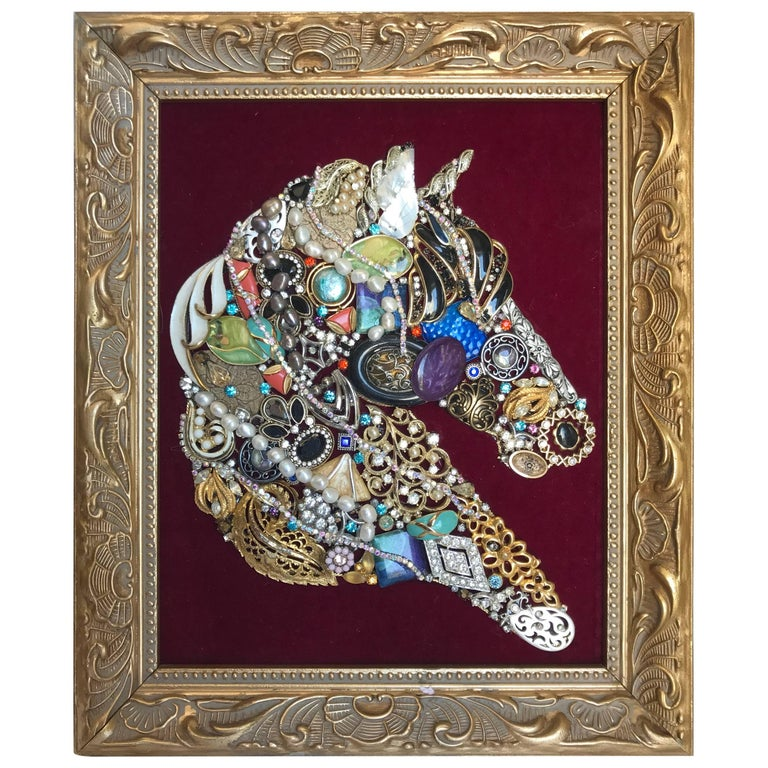 Horse Caricature Made of Assorted Vintage Jewelry