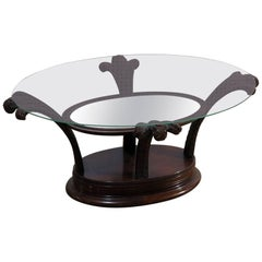 Hollywood Regency Grosfeld House Style Glass Top Coffee Table