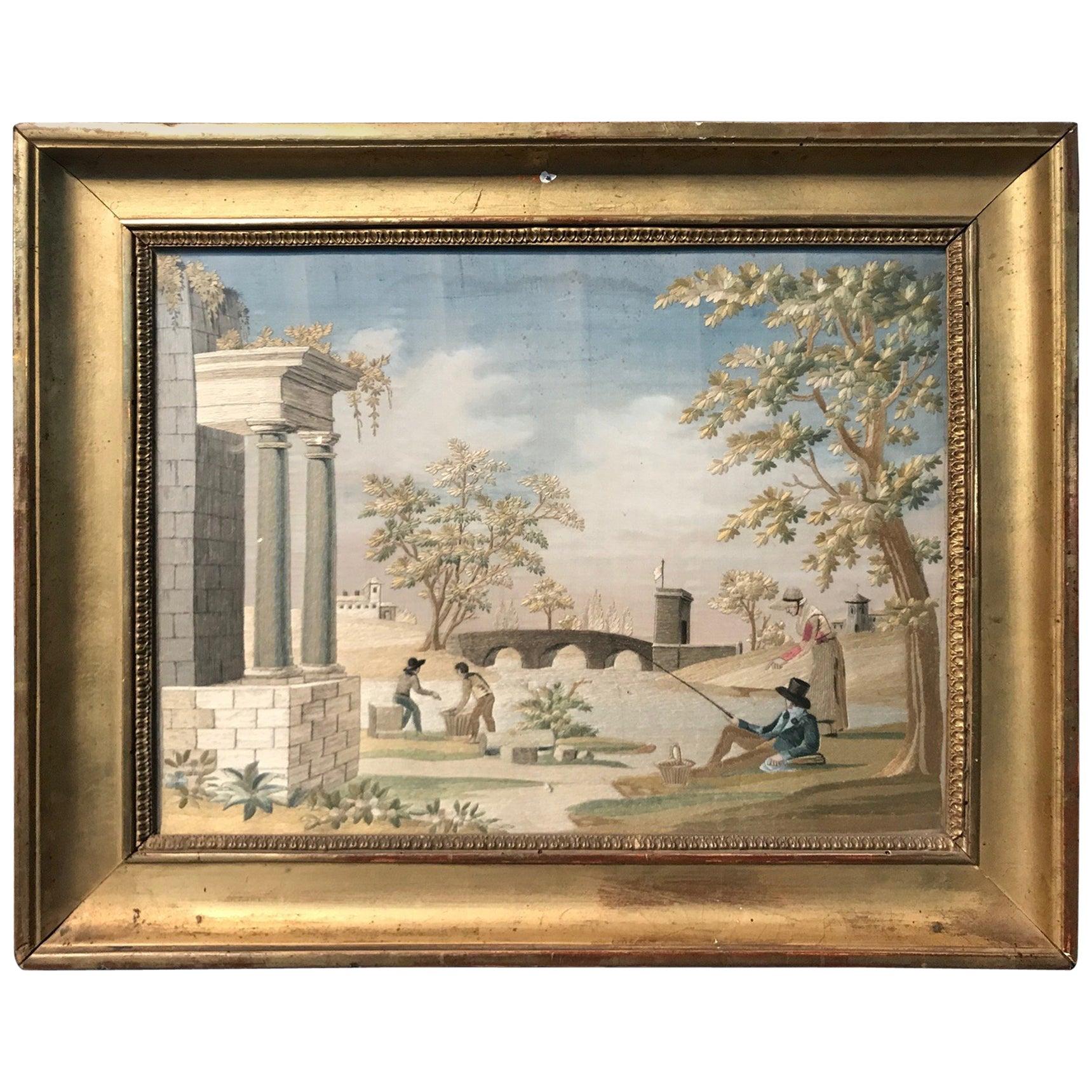 "French 19th Century ""Fil De Soie"", Silk Embroidery"