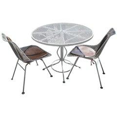 Mid-Century Modern Woodard Sculptura Patio Table Set Two Chairs White Iron