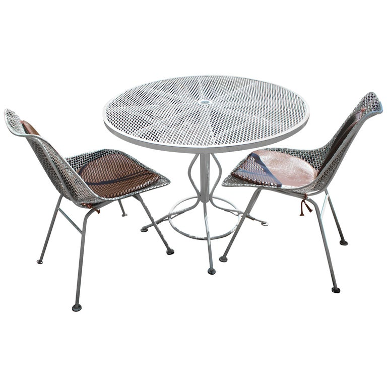 Mid Century Modern Woodard Sculptura Patio Table Set Two Chairs White Iron For